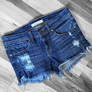 Eunina Lexi Denim Destroyed Cutoff Shorts Sz S